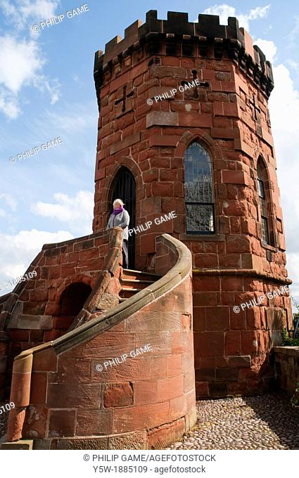 Laura's Tower, built by Thomas Telford within the red sandstone Norman castle at Shrewsbury