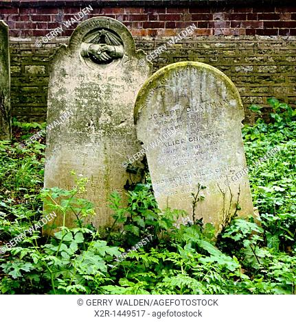 Gravestones from the 19th century in the Old Cemetery in Southampton, England
