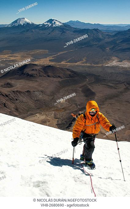 Climber on the Sajama Volcano. The highest mountain in Bolivia. Sajama National Park. Department of Oruro. Bolivia. South America