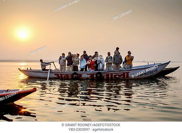 Early Morning Boat Ride On The Holy River Ganges, Varanasi, Uttar Pradesh, India