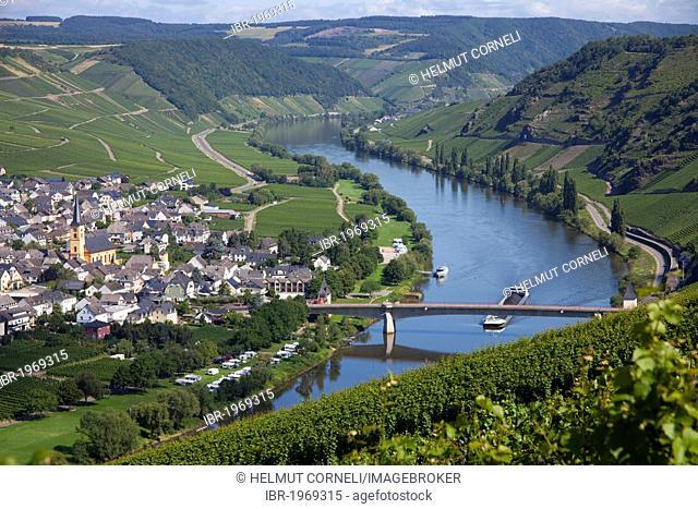 Moselle river bridge at Trittenheim, Landkreis Bernkastel-Wittlich district, Rhineland-Palatinate, Germany, Europe