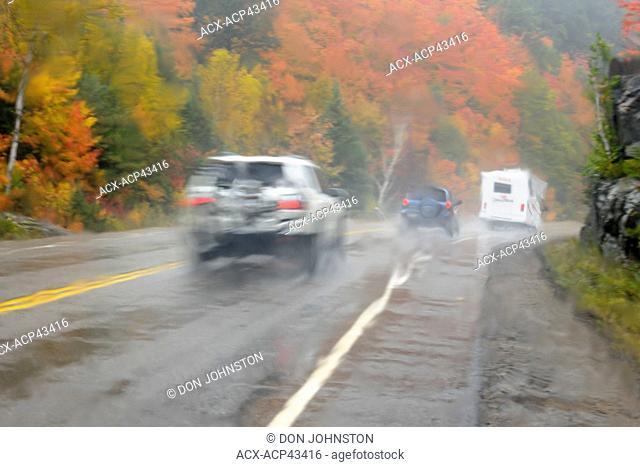 Highway 60 as seen through a rain-soaked window, Algonquin Provincial Park, Ontario, Canada