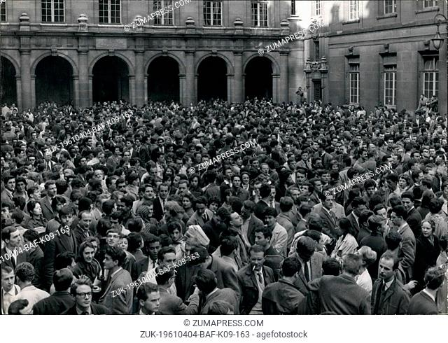 Apr. 04, 1961 - Reactions in France to army revolt One -Hour general strike : Paris students followed the central movement of one-hour strike and gathering the...