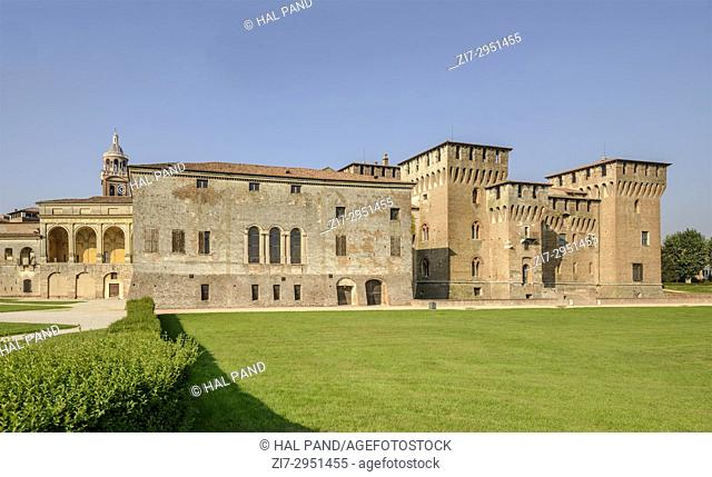 view of east side of Gonzaga Ducale Palace and fortress, shot in bright autumn sun light at Mantua, Lombardy, Italy