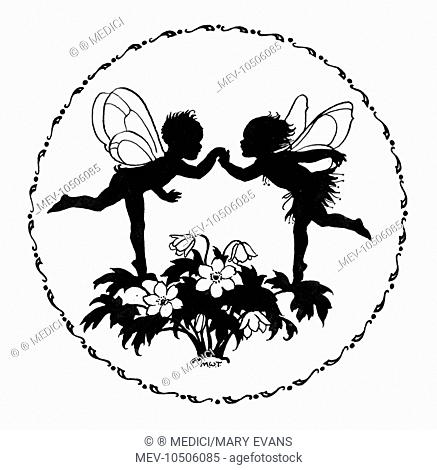 Two fairies dancing on flowers - silhouette in circle
