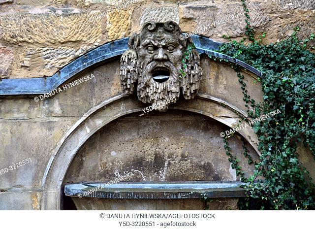 Fountain on backyard of Margravial Opera House, Münzgasse 2, historic part of Bayreuth, Upper Franconia, Bavaria, Bayern, Germany, Europe