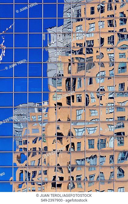 Modern buildings in the neighborhood of Gracia in Barcelona, Catalonia, Spain