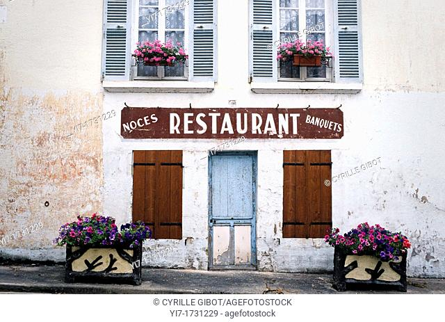 Facade of traditional French restaurant