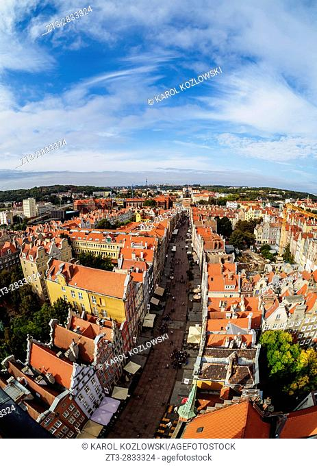 Poland, Pomeranian Voivodeship, Gdansk, Old Town, Elevated view of the Long Street