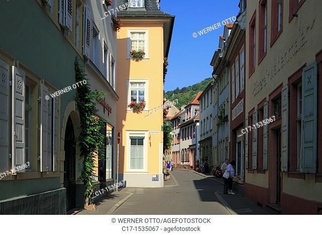 Germany, Heidelberg, Neckar, Rhine-Neckar area, nature reserve Neckartal-Odenwald, Bergstrasse, Odenwald, Baden-Wuerttemberg, old town, alleyway, Ingrimstrasse