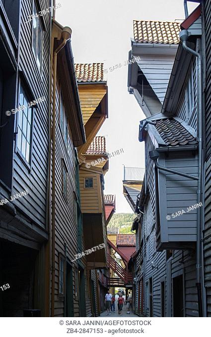 Bryggen (UNESCO World Heritage site since 1979), Bergen, Hordaland, Fjords, Norway