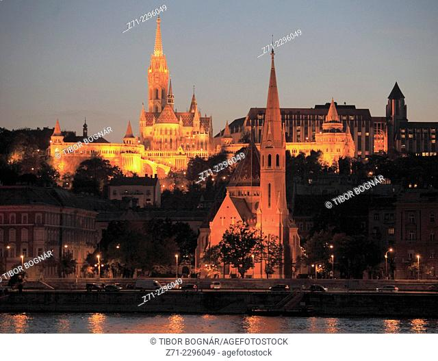 Hungary, Budapest, Castle District, skyline, Danube River