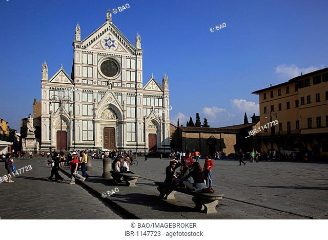 Franciscan church of Santa Croce at the Piazza Santa Croce in Florence, Florence, Tuscany, Italy, Europe
