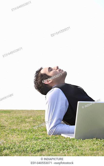 Businessman enjoying the outdoors , INDIA , DELHI