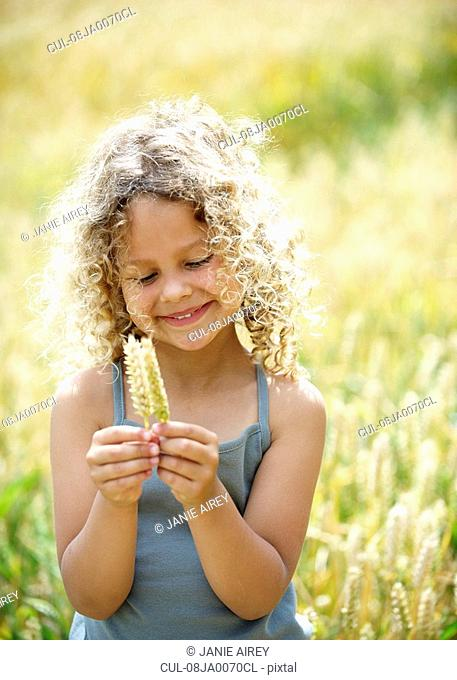 Young girl with ears of corn in field