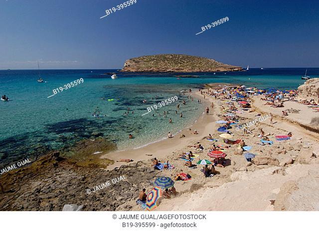 Platges de Comte and Illa des Bosc in background. Ibiza, Balearic Islands. Spain