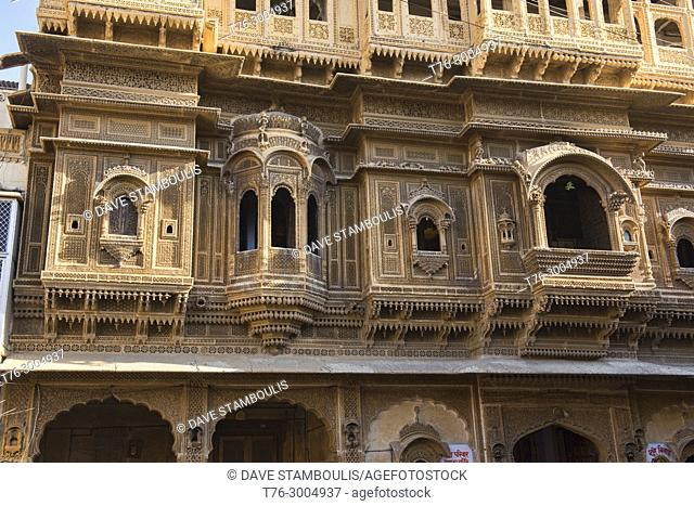 The intricate carved sandstone Nathmal Ki Haveli, Jaisalmer, Rajasthan, India