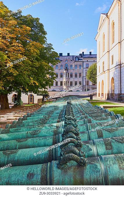 Gun tubes or gun barrels, Swedish Army Museum (Armemuseum), Ostermalm, Stockholm, Sweden, Scandinavia. . Museum of miltary history