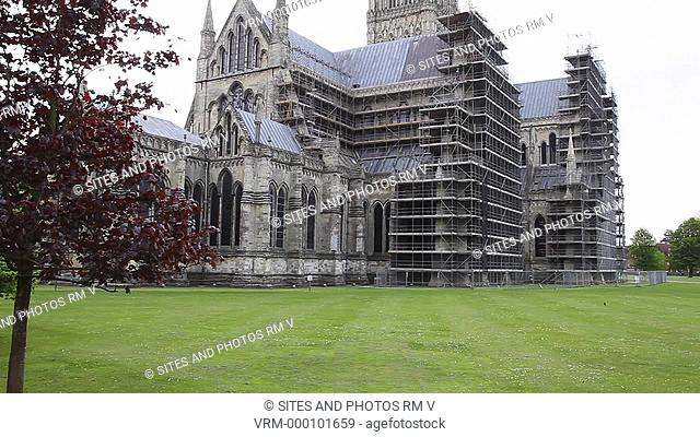 TILT up, exterior, daylight, exterior of the north-east end of the cathedral, modern scaffolding at the north transepts. The construction of the church began in...