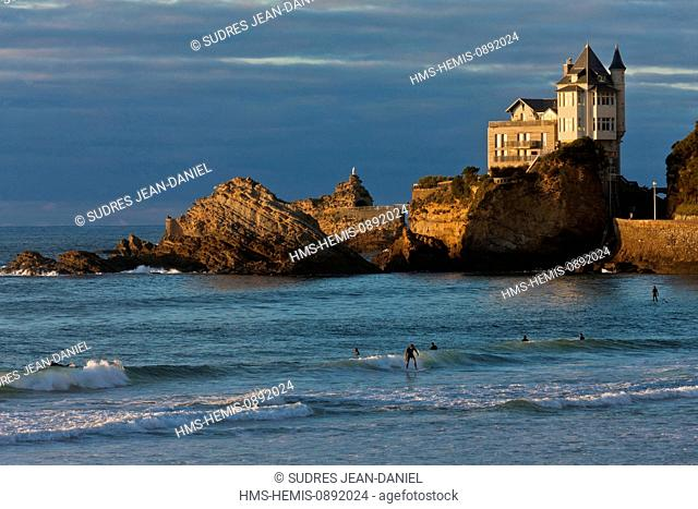 France, Pyrenees Atlantiques, Pays Basque, Biarritz, Cote des Basques Beach and Villa Belza by architect Alphonse Bertrand