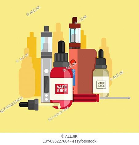 Vape device vector set. Vaping juice for vape. Vape trend new culture. Vape smoking. Vapor vaping. Vape vector sign