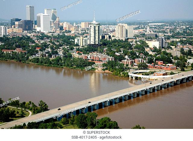 Tulsa Oklahoma Downtown Skyline Aerial from the Arkansas River