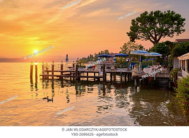 Sunset view at Garda Lake, Sirmione, Lombardy, Italy