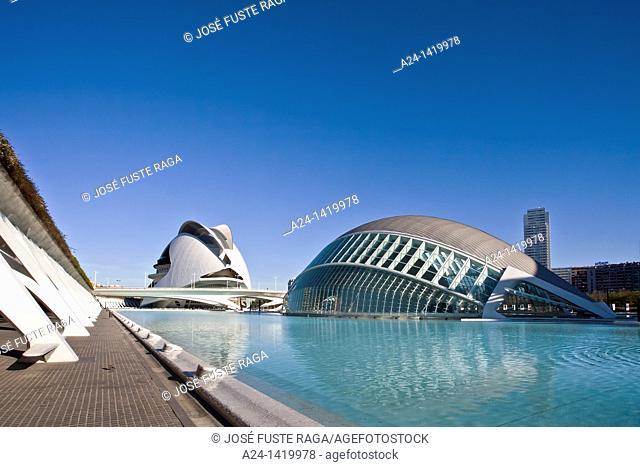 Spain, Valencia Comunity, Valencia City, The City of Arts and Science built by Calatrava, The Hemisferic and Palace of Arts