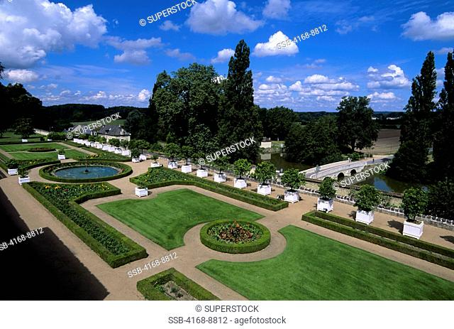 France, Loire Region, Near Chinon, Usse Chateaux, View of Garden