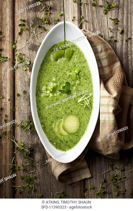 Cream of green vegetable soup with herbs (seen from above)