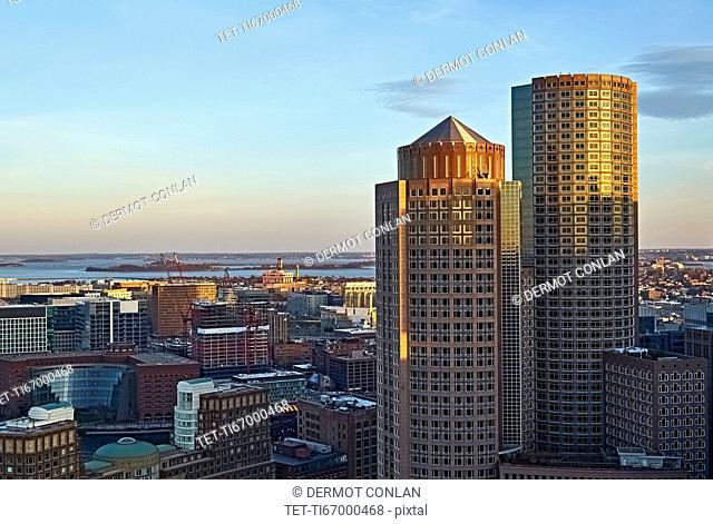 Massachusetts, Boston, Financial district at dusk