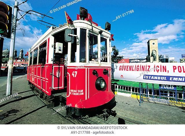 Tram at Taksim Square. Istanbul. Turkey
