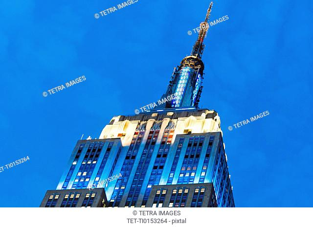 USA, New York State, New York City, Low angle view of Empire State Building
