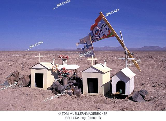 Crosses at roadside Atacama Desert Chile