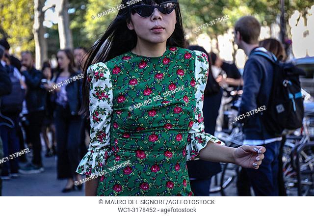 PARIS, France- September 26 2018: Susie Lau on the street during the Paris Fashion Week