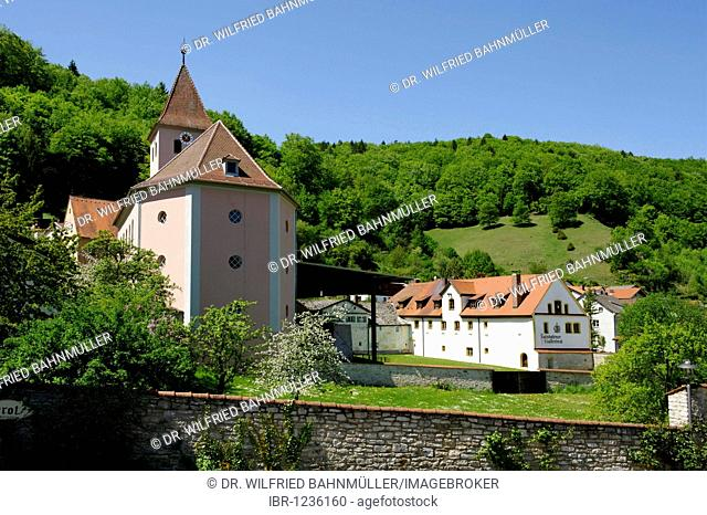 Protestant-lutheric margrave church besides the former provost of the Benedictine monks, Solnhofen in the Altmuehl Valley Nature Park Bavaria, Middle Franconia