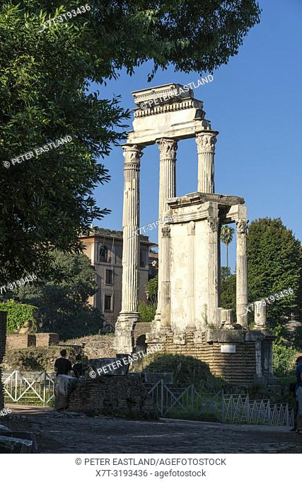 Looking across The Roman Forum towards the Temple of Vesta with the Temple of the Dioscuri behind, Rome, Italy
