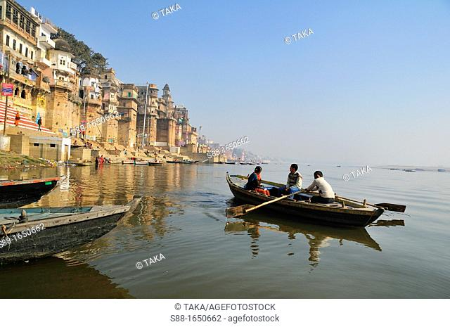 Looking at the ghats from the boat