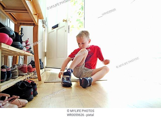 putting on shoe