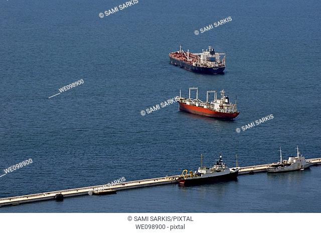 Container ships and fishing boats in the port at Gibraltar