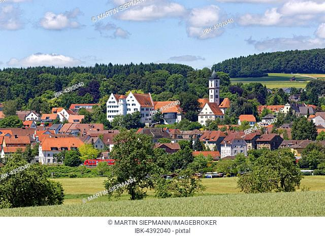 Aulendorf with Castle and Parish Church of St Martin, Upper Swabia, Swabia, Baden-Württemberg, Germany