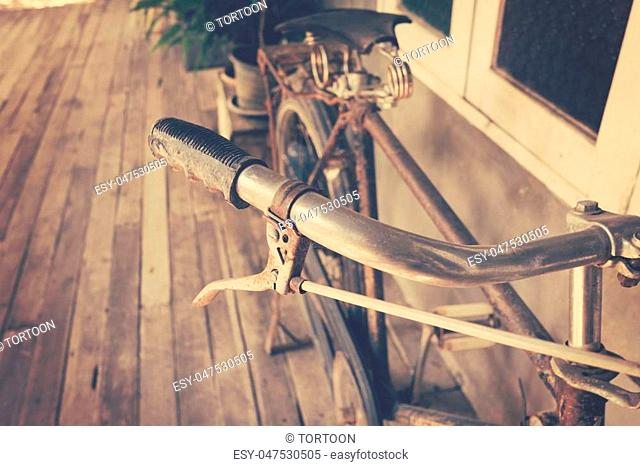 Close up bicycle handle vintage