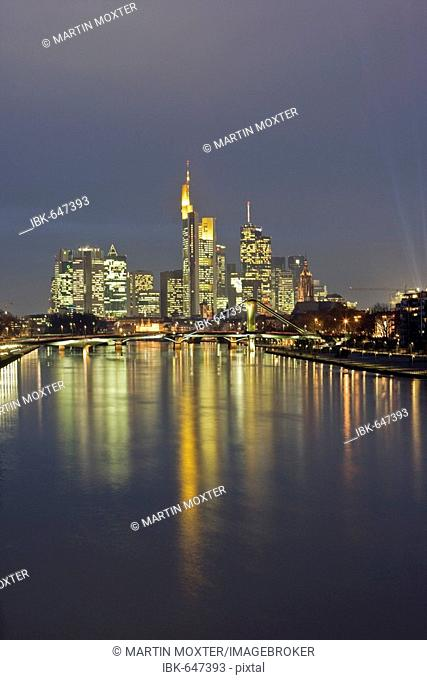Frankfurt skyline seen from the east, Frankfurt, Hesse, Germany, Europe