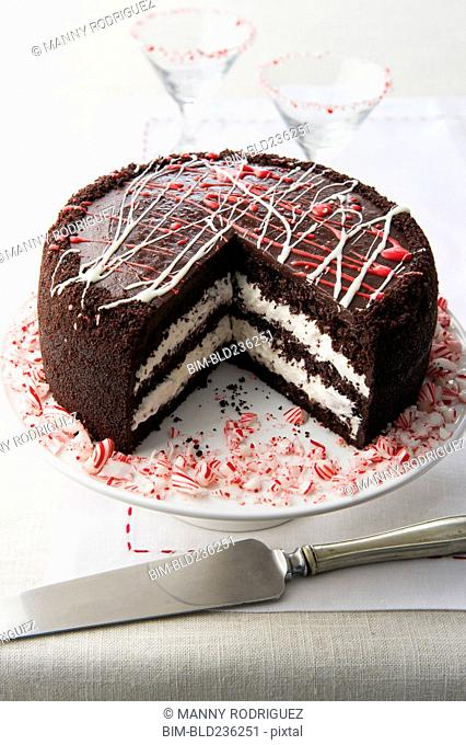 Chocolate cake with peppermint
