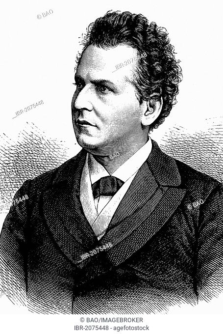 Friedrich Krastel, 1839-1908, German actor, woodcut, historical engraving, 1880
