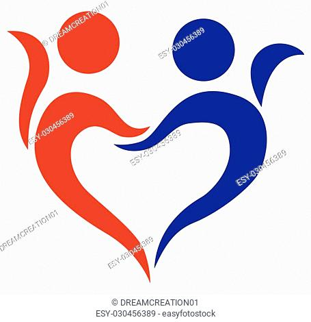 Vector illustration of family, love, symbol of two young people holding hand