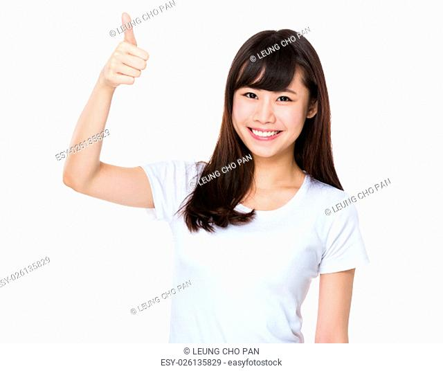 Asian young woman with thumb up gesture