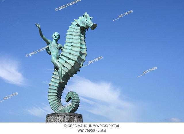 """""""""""Boy on the Seahorse"""" sculpture by Rafael Zamarripa on the Malecon in Puerto Vallarta, Jalisco, Mexico"