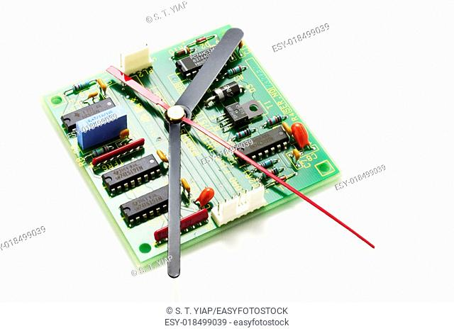 Circuit Board with Clock Hands