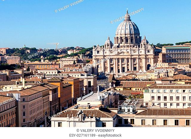 travel to Italy - view of Saint Peter Basilica in Vatican city and street via Conciliazione in Rome from Castel of Holy Angel
